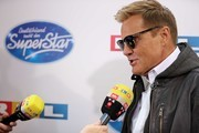 """Juror Dieter Bohlen is interviewed as he attends the season 16 finals of the tv competition show """"Deutschland sucht den Superstar"""" (DSDS) at Coloneum on April 27, 2019 in Cologne, Germany."""