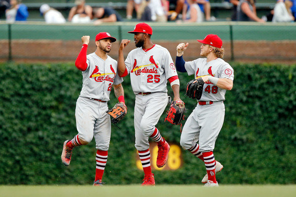 St Louis Cardinals vs. Chicago Cubs [sports,sport venue,baseball player,baseball uniform,team sport,ball game,player,college baseball,bat-and-ball games,baseball,tommy pham,harrison bader,dexter fowler 25,l-r,chicago,illinois,wrigley field,st louis cardinals,chicago cubs,win]