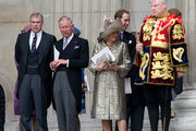 Prince Andrew, Duke of York, Prince Charles, Prince of Wales, Camilla, Duchess of Cornwall and Prince William, Duke of Cambridge attend a service of thanksgiving on June 5, 2012 in London, England. For only the second time in its history the UK celebrates the Diamond Jubilee of a monarch. Her Majesty Queen Elizabeth II celebrates the 60th anniversary of her ascension to the throne. Thousands of wellwishers from around the world have flocked to London to witness the spectacle of the weekend's celebrations.