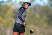 Lexi Thompson watches her tee shot on the fourth hole during the second round of the Diamond Resorts Tournament of Champions at Tranquilo Golf Course at Four Seasons Golf and Sports Club Orlando on January 18, 2019 in Lake Buena Vista, Florida.