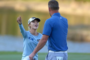 Lydia Ko of New Zealand hugs former MLB pitcher Mark Mulder on the 18th hole after the third round of the Diamond Resorts Tournament of Champions at Tranquilo Golf Course at Four Seasons Golf and Sports Club Orlando on January 19, 2019 in Lake Buena Vista, Florida.
