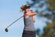 Lexi Thompson watches her tee shot on the 17th hole during the second round of the Diamond Resorts Tournament of Champions at Tranquilo Golf Course at Four Seasons Golf and Sports Club Orlando on January 18, 2019 in Lake Buena Vista, Florida.