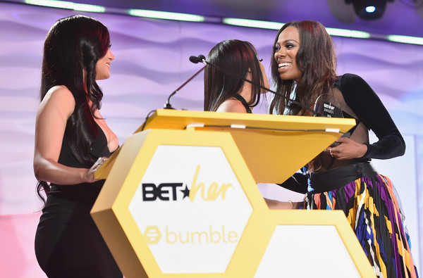 Bumble Presents BETHer Awards [yellow,event,talent show,performance,competition,games,bumble presents bether awards,l-r,california,los angeles,l.a. live,the conga room,cymphonique miller,saweetie,bumble,yvonne orji]