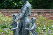The statue of Diana, Princess of Wales, ahead of the first members of the public being allowed in to view it in the Sunken Garden at Kensington Palace on July 02, 2021 in London, England. July 1st would have been the 60th birthday of Princess Diana, who died in 1997. At a ceremony here yesterday, her sons Prince Harry, Duke of Sussex and Prince William, Duke of Cambridge, unveiled the statue, by sculptor Ian Rank-Broadley, in her memory.  Photo by Jonathan Brady-WPA Pool/Getty Images)