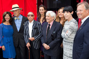 (L-R) Peri Ellen Berne, Tim Vreeland, James Galano, Director Lisa Immordino Vreeland, Fred Hayman, Wanda McDaniel, Peggy Moffitt, and Mayor Willie Brien the plaque unveiling & induction ceremony honoring Diana Vreeland by the Rodeo Drive Walk Of Style at Via Rodeo on September 10, 2012 in Beverly Hills, California.