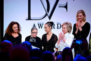 Diane von Furstenberg, U.S. Supreme Court Justice Ruth Bader Ginsburg, Ria Tobacco Mar, former Secretary of State Hillary Clinton and Karlie Kloss attend the DVF 2020 Awards at the Library of Congress on February 19, 2020 in Washington, DC.