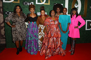 (L-R) Loni Love, Ryan Michelle Bathe, Yvette Nicole Brown, Koshie Mills, Amara La Negra, Tiffany Persons and Kimberly Paige attend The Diaspora Dialogues' 3rd Annual International Women Of Power Luncheon at Arbat Banquet Hall on March 07, 2020 in Burbank, California.