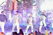 Jonathan Knight, Jordan Knight, Danny Wood and Joey McIntyre of New Kids on the Block perform on stage during Dick Clark's New Year's Rockin' Eve With Ryan Seacrest 2019 on December 31, 2018 in New York City.