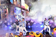 Jonathan Knight, Donnie Wahlberg, Jordan Knight, Danny Wood and Joey McIntyre of New Kids on the Block perform on stage during Dick Clark's New Year's Rockin' Eve With Ryan Seacrest 2019 on December 31, 2018 in New York City.
