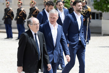 Didier Deschamps French President Francois Hollande Receives France Soccer Team At Elysee Palace in Paris