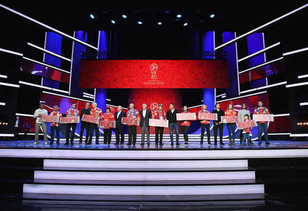 Final Draw for the 2018 FIFA World Cup Russia - Previews [stage,music venue,heater,display device,performance,musical theatre,event,night,stage equipment,technology,cafu,diego forlan,fabio cannavaro,nikita simonyan,laurent blanc,draw,l-r,russia,host cities,2018 fifa world cup]