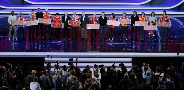 Final Draw for the 2018 FIFA World Cup Russia - Previews [crowd,product,event,stage,performance,technology,stage equipment,team,convention,competition event,cafu,diego forlan,fabio cannavaro,carles puyol,nikita simonyan,laurent blanc,draw,l-r,russia,2018 fifa world cup]