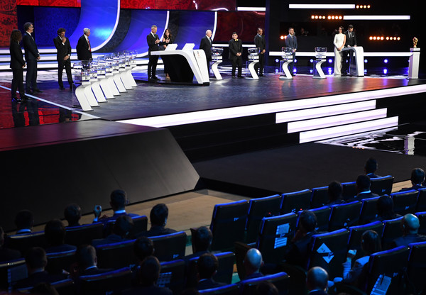 Final Draw for the 2018 FIFA World Cup Russia [auditorium,stage,audience,convention,theatre,performing arts center,heater,games,building,event,carles puyol,diego forlan,laurent blanc,maria komandnaya,nikita simonyan,diego maradona,gary lineker,draw,russia,2018 fifa world cup]