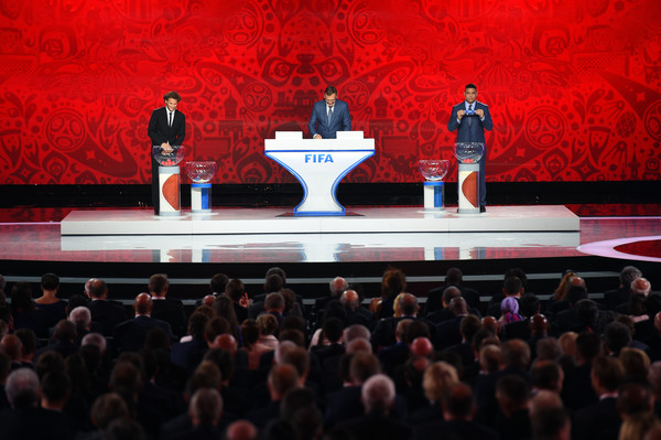 Preliminary Draw of the 2018 FIFA World Cup in Russia [red,stage,audience,crowd,theatre,event,performance,performance art,heater,auditorium,diego forlan,ronaldo,jerome valcke,south american zone draw,russia,the konstantin palace,saint petersburg,fifa,2018 fifa world cup,preliminary draw]