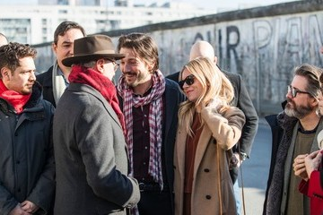 Diego Luna Dieter Kosslick, Diego Luna And Sienna Miller Make A Statement Against US-Mexico Border Wall Building - 67th Berlinale International Film Festival