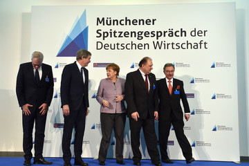 Dieter Kempf Chancellor Angela Merkel Attends the International Trade Crafts Fair in Munich