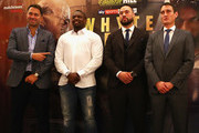 Eddie Hearn, Dillian Whyte , Joseph Parker and David Higgins pose for photographs during the Dillian Whyte and Joseph Parker Press Conference at The Dorchester Hotel on June 7, 2018 in London, England.