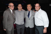 "(L-R)  Brad Altman, producer of ""TO BE TAKEI"" Gerry Kim,  actor George Takei and STARZ's Michael Messina attend DirecTV TO BE TAKEI Media Reception at The General NYC on July 2, 2014 in New York City."