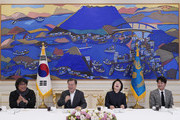 South Korean President Moon Jae-in speaks as director Bong Joon-ho, first lady Kim Jung-sook and actor Song Kang-ho react during a luncheon at the Presidential Blue House on February 20, 2020 in Seoul, South Korea. Director Bong met with President Moon after returning home from the 92nd Academy Awards where his film 'Parasite' won in four categories including Best Picture.