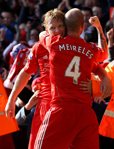 Dirk Kuyt Dirk Kuyt of Liverpool celebrates scoring his team's second goal with team mate Raul Meireles (R) during the Barclays Premier League match between Liverpool and Manchester United at Anfield on March 6, 2011 in Liverpool, England.