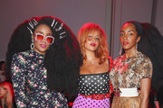 TK Wonder, Lion Babe and Cipriana Quann attend the Discount Universe front row during New York Fashion Week: The Shows at Gallery II at Spring Studios on September 6, 2018 in New York City.