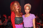 Lion Babe and Kitty Cash attend the Discount Universe front row during New York Fashion Week: The Shows at Gallery II at Spring Studios on September 6, 2018 in New York City.