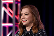 Alyson Hannigan of 'Girl Scout Cookie Championship' speaks onstage during the Food Network portion of the Discovery, Inc. TCA Winter Panel 2020 at The Langham Huntington, Pasadena on January 16, 2020 in Pasadena, California.