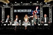 Director Ben Steele, Natalia Baca, Gianna Baca, Sandy Phillips and Lonnie Phillips of 'In Memoriam' speak onstage during the Investigation Discovery portion of the Discovery, Inc. TCA Winter Panel 2020 at The Langham Huntington, Pasadena on January 16, 2020 in Pasadena, California.