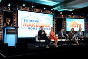 President, HGTV Jane Latman, Jesse Tyler Ferguson, Breegan Jane, Darren Keefe, Carrie Locklyn and Group SVP of Programming & Development, HGTV, Loren Ruch of 'Extreme Makeover: Home Edition' speak onstage during the HGTV portion of the Discovery, Inc. TCA Winter Panel 2020 at The Langham Huntington, Pasadena on January 16, 2020 in Pasadena, California.