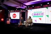 President, Food Network & Cooking Channel Courtney White, Alyson Hannigan and Nacho Aguirre of 'Girl Scout Cookie Championship' speak onstage during the Food Network portion of the Discovery, Inc. TCA Winter Panel 2020 at The Langham Huntington, Pasadena on January 16, 2020 in Pasadena, California.