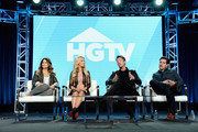 (L-R) Renovation Expert and Real Estate Developer of 'Windy City Rehab' Alison Victoria, Designer Christina Anstead of 'Christina on the Coast', Designer David Bromstad of 'My Lottery Dream Home' and Home Renovator Jonathan Knight of 'Farmhouse Fixer' speak on the 'Personal Reinvention to Home Renovation: How HGTV Finds Fresh Star Vehicles for Established Talent' panel during the HGTV portion of the Discovery Communications Winter 2019 TCA Tour at the Langham Hotel on February 12, 2019 in Pasadena, California.