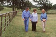 ABC NEWS - 20/20 - 5/2/00  .Barbara Walters interviews Presidential candidate Governor George W. Bush and his wife Laura, at their home in Crawford, Texas, airing on 20/20 FRIDAY, on MAY 5, 2000 (10-11 pm, ET) on the ABC Television Network.    .(Photo by Virginia Sherwood/ABC via Getty Images) .GEORGE W. BUSH, LAURA BUSH, BARBARA WALTERS