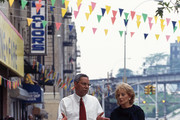 New York, NY - 1995:  (L-R) Colin Powell being interviewed by Barbara Walters on '20/20'.