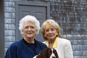 """20/20 - 8/3/94 .Former First Lady Barbara Bush and Barbara Walters at the Bush family retreat in Kennebunkport, Maine, for ABC News' """"20/20"""" airing on the ABC Television Network. (Photo by Steve Fenn/ABC via Getty Images)  talent: BARBARA BUSH, BARBARA WALTERS photographer: STEVE FENN credit: ABC source: ABC NEWS cap writer: WW"""