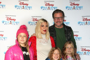 Tori Spelling and Dean McDermott with children Stella, Hattie Liam and  attends Disney On Ice Presents Mickey's Search Party Holiday Celebrity Skating Event at Staples Center on December 13, 2019 in Los Angeles, California.