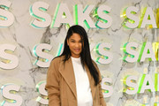 """Chanel Iman attends during the Disney and Saks Fifth Avenue unveiling of """"Disney Frozen 2"""" holiday windows on November 25, 2019 in New York City."""