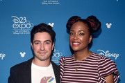 (L-R) Ben Feldman and Aisha Tyler of 'Monsters at Work' took part today in the Disney+ Showcase at Disney's D23 EXPO 2019 in Anaheim, Calif.  'Monsters at Work' will stream exclusively on Disney+, which launches November 12.