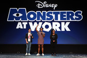 (L-R) Ben Feldman and Aisha Tyler of 'Monsters at Work,' and Yvette Nicole Brown took part today in the Disney+ Showcase at Disney's D23 EXPO 2019 in Anaheim, Calif.  'Monsters at Work' will stream exclusively on Disney+, which launches November 12.