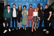 (L-R) Barry Keoghan, Richard Madden, Angelina Jolie, Lauren Ridloff, Kumail Nanjiani, Lia McHugh, Brian Tyree Henry, Salma Hayek, and Don Lee of 'The Eternals' took part today in the Walt Disney Studios presentation at Disney's D23 EXPO 2019 in Anaheim, Calif.  'The Eternals' will be released in U.S. theaters on November 6, 2020.