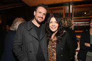 """Jason Segal and Sarah Barnett, President AMC Networks Entertainment Group,.AMC Studios attend the """"Dispatches from Elsewhere"""" - Tastemaker event on December 12, 2019 in Los Angeles, California."""