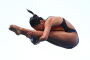 Han Wang of China competes in the Women's 3m Springboard Diving Semifinal round on day eight of the 15th FINA World Championships at Piscina Municipal de Montjuic on July 27, 2013 in Barcelona, Spain.