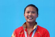 Silver medal winner Han Wang of China celebrates after the Women's 3m Springboard Diving Semifinal round on day eight of the 15th FINA World Championships at Piscina Municipal de Montjuic on July 27, 2013 in Barcelona, Spain.