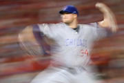 Jon Lester #34 of the Chicago Cubs delivers a pitch against the Washington Nationals in the sixth inning during game two of the National League Division Series at Nationals Park on October 7, 2017 in Washington, DC.