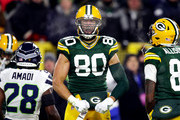 Jimmy Graham #80 of the Green Bay Packers celebrates after a reception during the first quarter against the Seattle Seahawks in the NFC Divisional Playoff game at Lambeau Field on January 12, 2020 in Green Bay, Wisconsin.