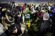 Aaron Rodgers #12 of the Green Bay Packers celebrates after defeating the Seattle Seahawks 28-23 in the NFC Divisional Playoff game at Lambeau Field on January 12, 2020 in Green Bay, Wisconsin.