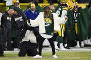 Rapper Lil Wayne performs during the NFC Divisional Playoff game between the Seattle Seahawks and the Green Bay Packers at Lambeau Field on January 12, 2020 in Green Bay, Wisconsin.