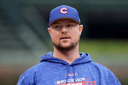 Jon Lester #34 of the Chicago Cubs looks on before game four of the National League Division Series against the Washington Nationals at Wrigley Field on October 10, 2017 in Chicago, Illinois.