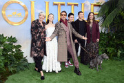 "(L-R) Emma Thompson, Carmel Laniado, Robert Downey Jr, Harry Collett, Tom Holland and Susan Downey attend the ""Dolittle"" special screening at Cineworld Leicester Square on January 25, 2020 in London, England."