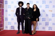 Rossy de Palma (C), Gabriel (L) and Luna Lionne (R) attends 'Dolor y Gloria' premiere at the Capitol cinema on March 13, 2019 in Madrid, Spain.