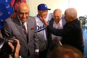 Don Newcombe Los Angeles Dodgers Introduce Dave Roberts